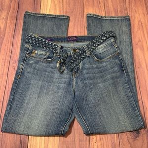 Women's Belted Boot Cut Jeans